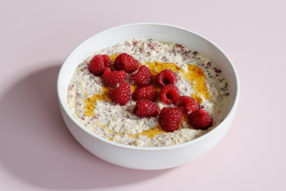 Peanut Butter and Jam Oats with Raspberries