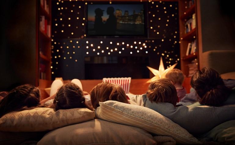 Family Having A Movie Night