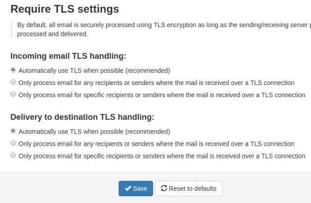 Require TLS settings