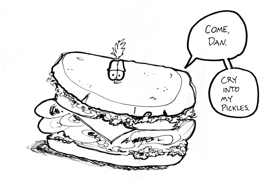 A cartoon of a very tasty-looking sandwich.