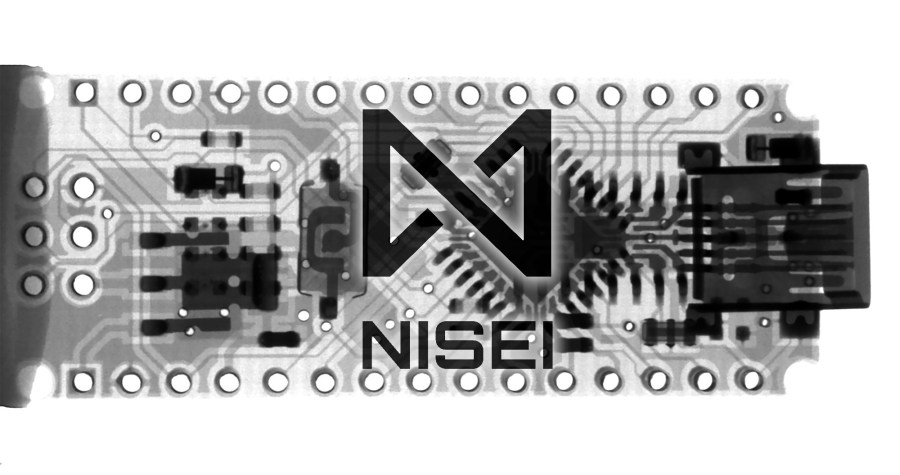 X-ray of a ciruit board, with the NISEI logo superimposed on top