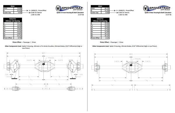 Derek West Front & Rear Build Sheet