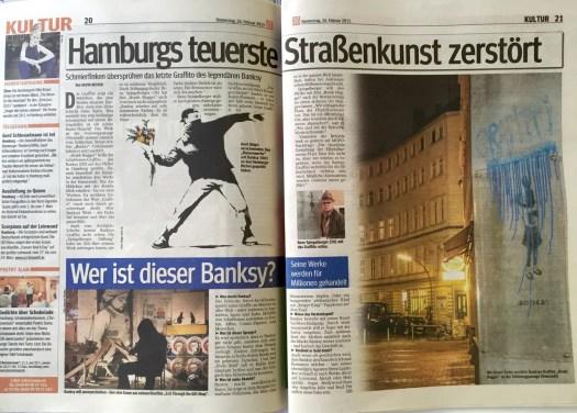 Das Medieninteresse am Farbanschlag auf das Kunstwerk ist riesig. Hier: Hamburger Morgenpost