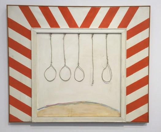 Winfred Gaul 'Kleines Galgenbild' von 1963 (!) im Format 120 x 100 x 5 cm für 18' Euro bei Galerie Schlichtenmaier