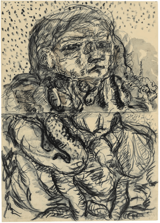 GEORG BASELITZ (B. 1938) Der neue Typ (The New Type) signed and dated 'G Baselitz 67' (lower right) pencil, charcoal and wash on paper (61 x 43.2cm.) Executed in 1966-1967 £220,000-300,000