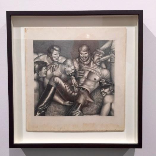 Auch Tom of Finland hat es nach seinem posthumen Auftritt für den Nordischen Pavillon der Biennale in Venedig 2009 in die heiligen Hallen der Art Basel geschafft. Die Zeichnungen des gelernten Werbegrafikers (wie Andy Warhol) liegen derzeit im kleineren fünfstelligen Bereich.