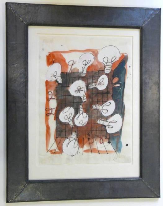 """Marcus Lüpertz, 'Schwebende Glühbirnen', Aquarell auf gewelltem Papier, unten rechts monogrammiert """"ML"""" , 49 x 35 cm, unter Glas gerahmt."""