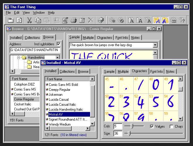 tela do software gerenciador de fontes The Font Thing