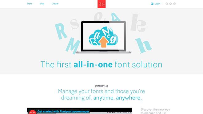 tela do software gerenciador de fontes Fontyou nuvem cloud app