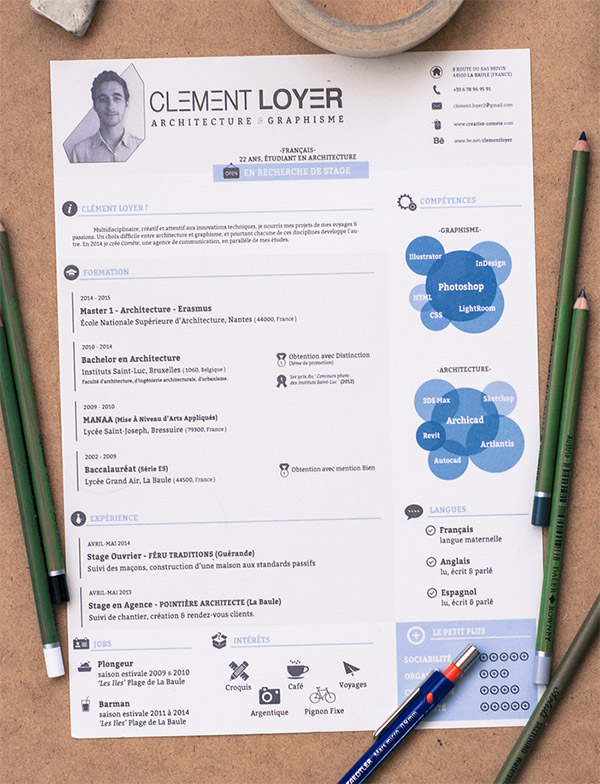 20 Free Editable CV Resume Templates for PS   AI 2015 Resume Template by Cl    ment Loyer