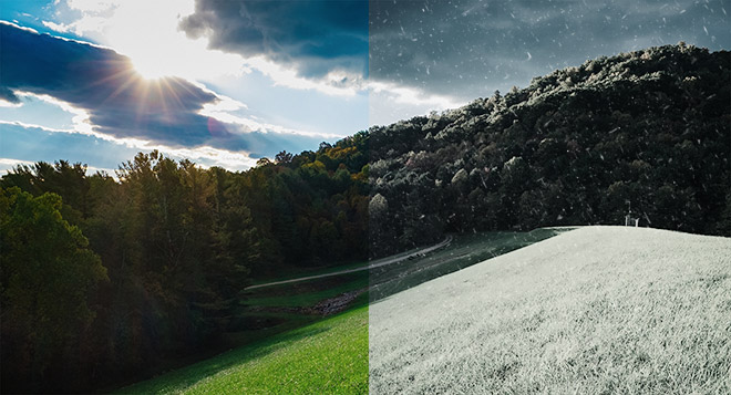 Summer to Winter conversion in Adobe Photoshop