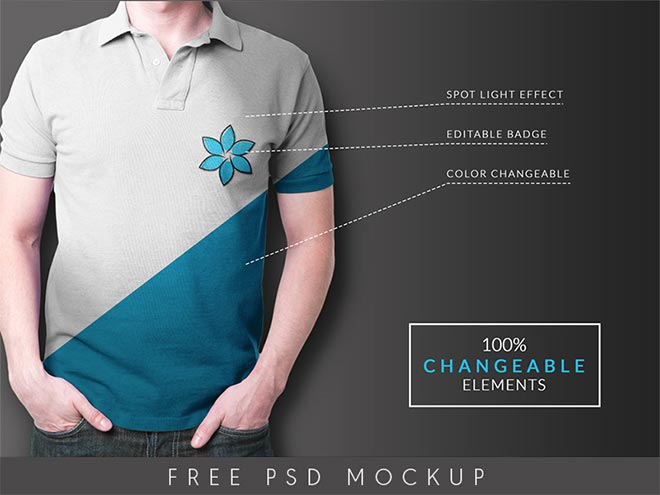 Multi feature free collar t shirt mock up