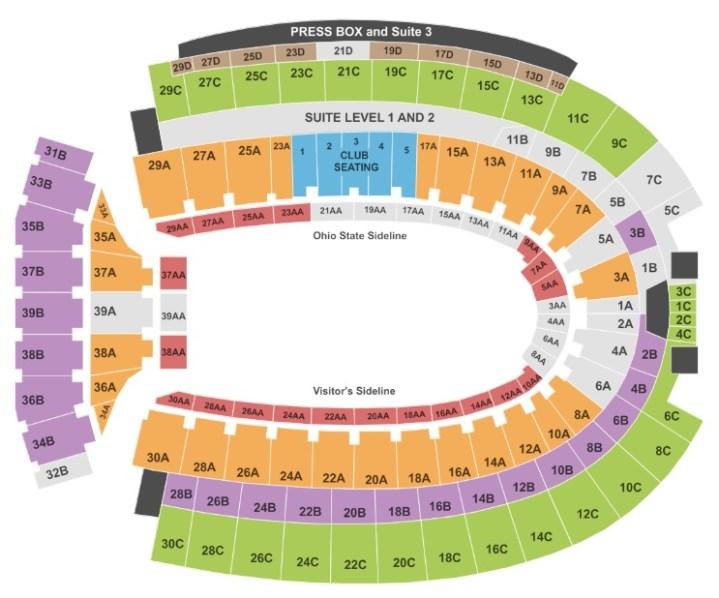 Ohio Stadium seat map.