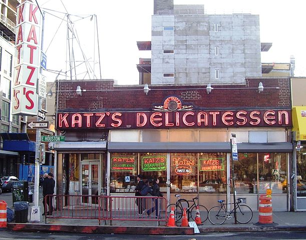 """Katz's Delicatessen"" by Beyond My Ken - Own work. Licensed under GFDL via Wikimedia Commons - http://commons.wikimedia.org/wiki/File:Katz%27s_Delicatessen.jpg#/media/File:Katz%27s_Delicatessen.jpg"
