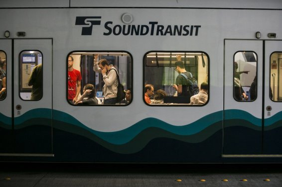 Morning commuters ride Sound Transit's Link Light Rail Trains into Seattle Monday July 7, 2014. 139945