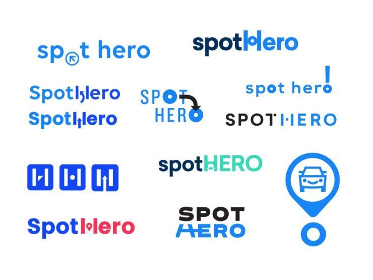 The drawing board of SpotHero Logos