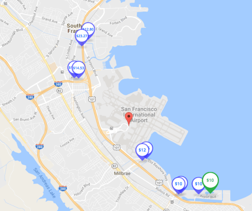 where to park at sfo map