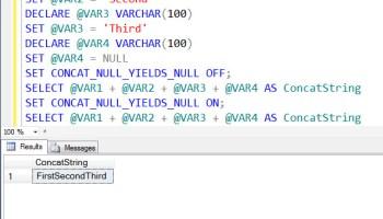 SQL SERVER - Check Database Level (IsNullConcat) and Session Level Settings (CONCAT_NULL_YIELDS_NULL) using T-SQL concatstring1