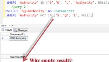 SQL Puzzle - Solution to Strange Results - IN and IS NOT NULL - emptyresult