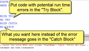 SQL SERVER - 2005 - Explanation of TRY...CATCH and ERROR Handling j2p_28_2