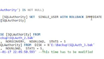 SQL SERVER - A Quick Script for Point in Time Recovery - Back Up and Restore stopaterror