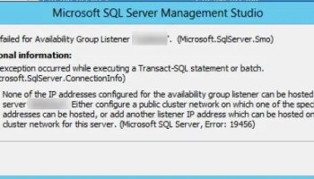 SQL SERVER - Unable to Create Listener for AlwaysOn Availability Group in Azure via Template Deployment err-19456