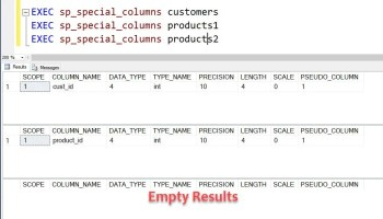 SQL SERVER - Finding Tables with Primary or Foreign Keys sp_special_columns-customers