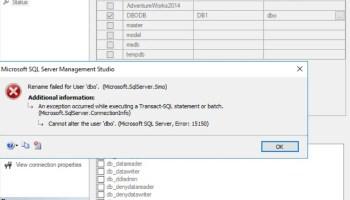 SQL SERVER - Fix Error - Package 'Microsoft SQL Management Studio Package' failed to load in SQL Server Management Studio dbo-rename-err-01.