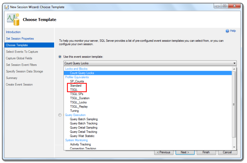 XE profiler - new session wizard