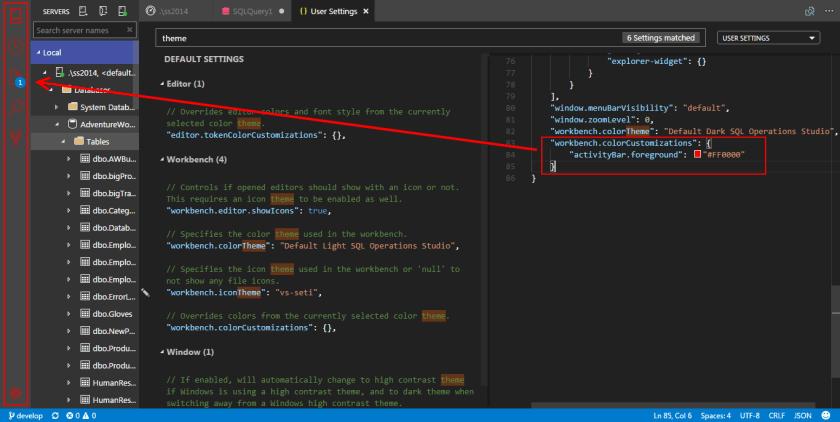 SQL Operations Studio - Color Theme customization