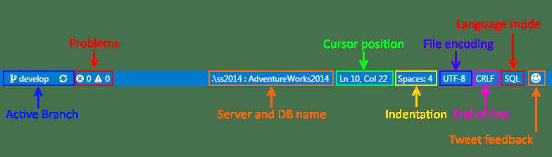 SQL Operations Studio - TSQL editor - Status Bar