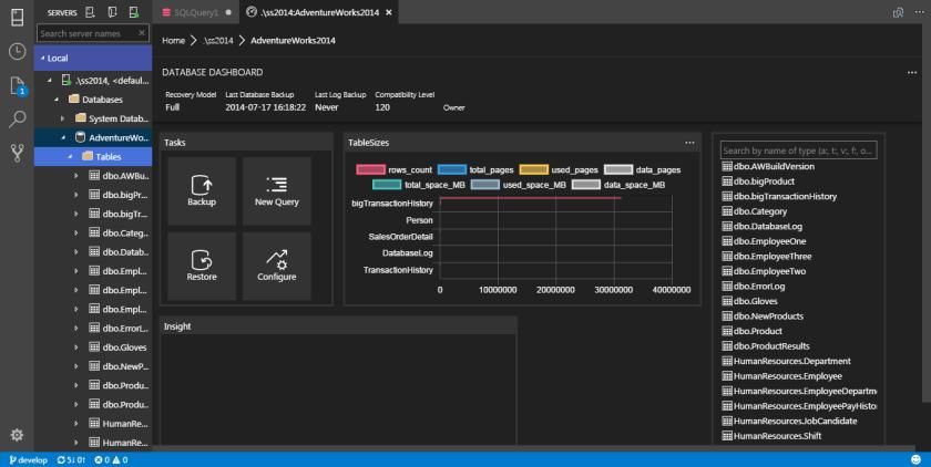 SQL Operations Studio - Database Dashboard