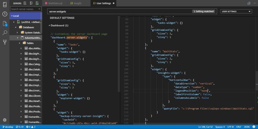 SQL Operations Studio - Widget 07