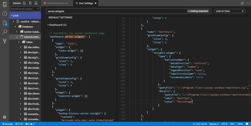 SQL Operations Studio - Widget 10