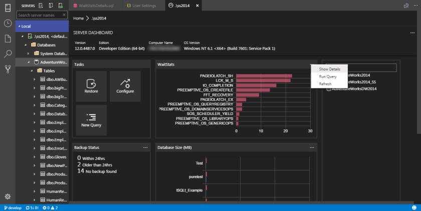 SQL Operations Studio - Widget 11