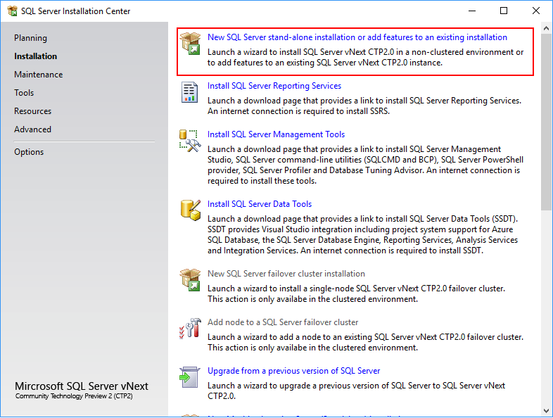 SQL Server 2019 - installation center- stand-alone installation