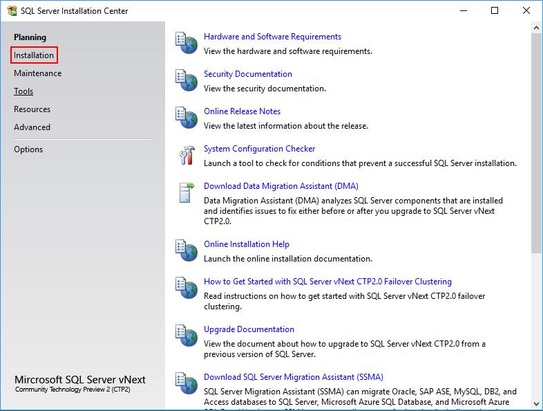 SQL Server 2019 - installation center