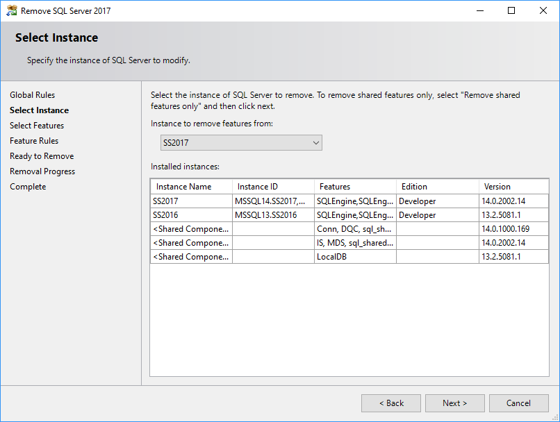 Uninstall SQL Server feature - select instance