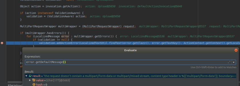 defaultMessage parameter value contains the injected header value