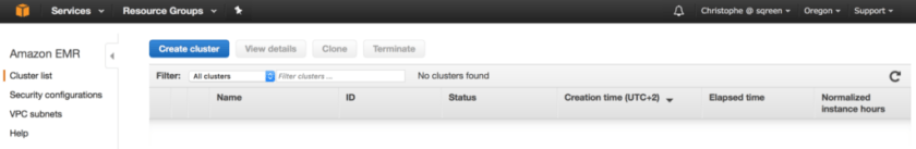 AWS Elastic Map-Reduce cluster list