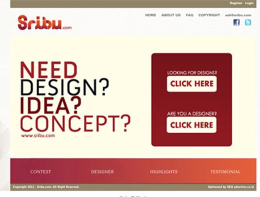 Homepage Sribu.com yang pertama