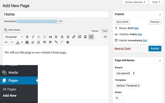 tambah page baru pada cara membuat website wordpress