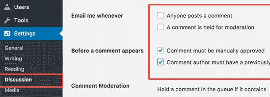 pengaturan komentar cara membuat website gratis di wordpress