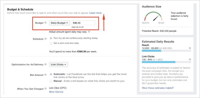 set budget untuk beriklan di facebook