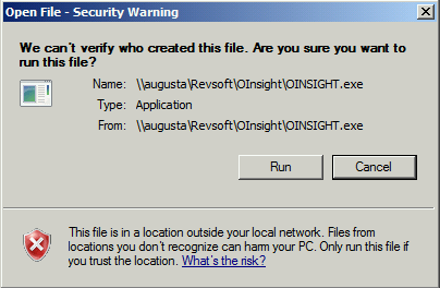 OInsight.exe File Security Warning Message