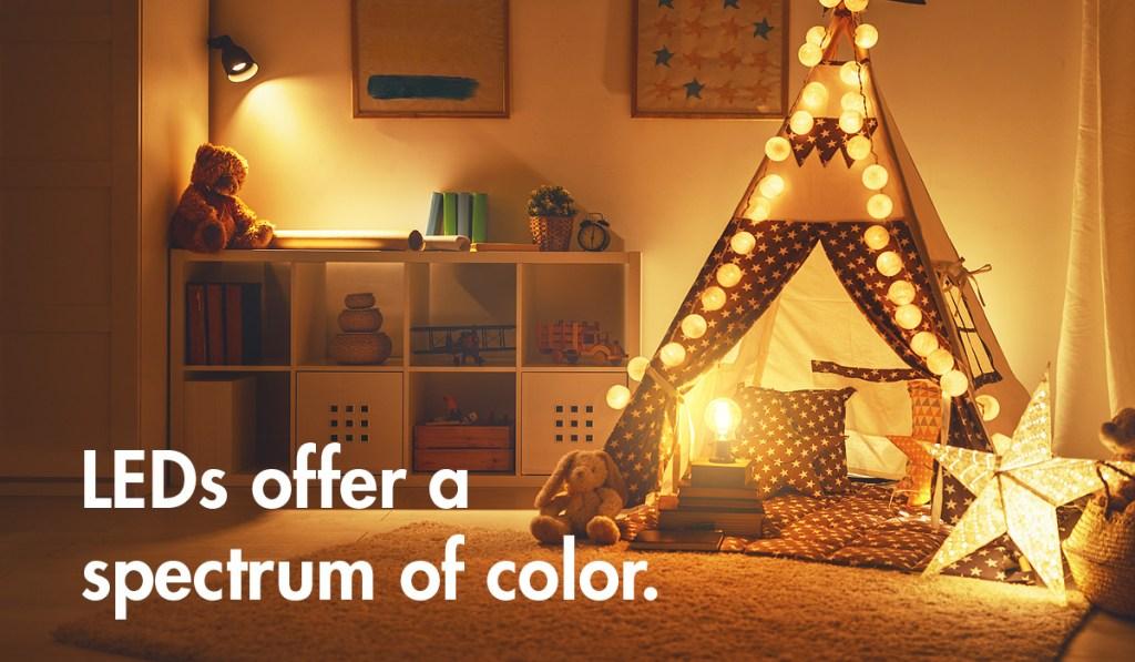 LEDs offer a spectrum of color.
