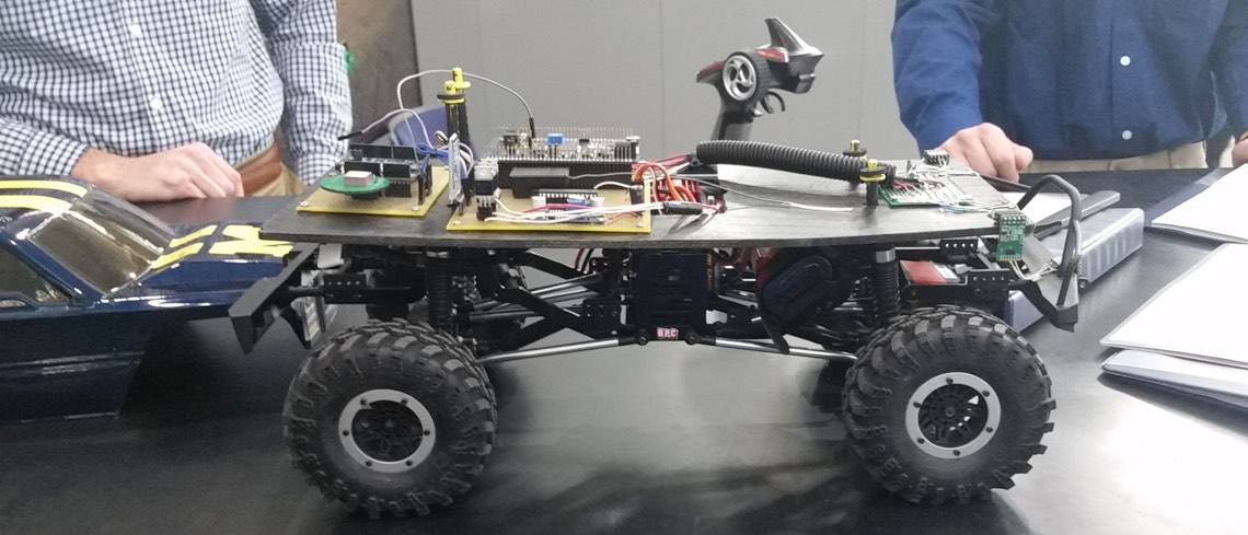 The PCB and internal parts of the driverless RC car