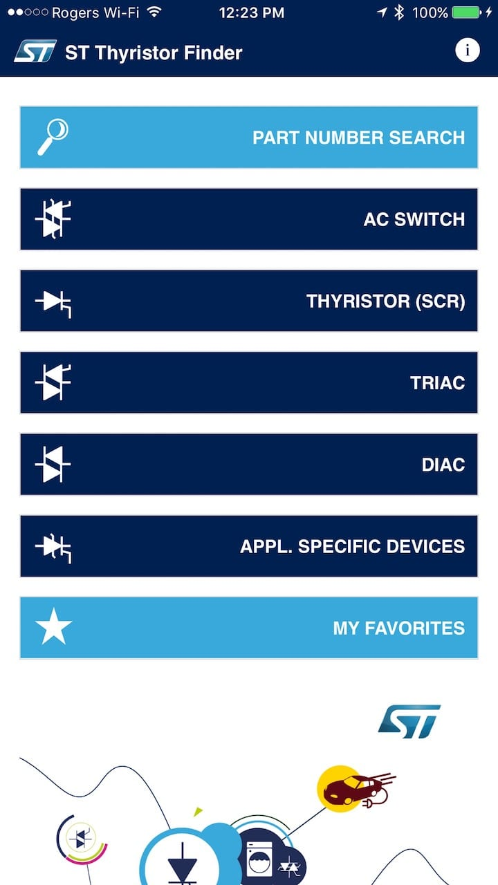Thyristor Finder The First App In World That Makes Designing Scr Circuits Applications Home Screen Of With Different Thyristors Offered By St Click To Enlarge