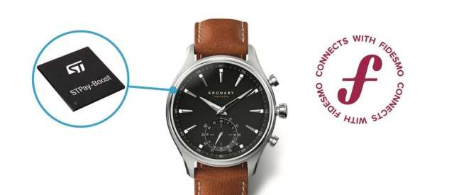 A smartwatch with the STPay-Boost and Fidesmo