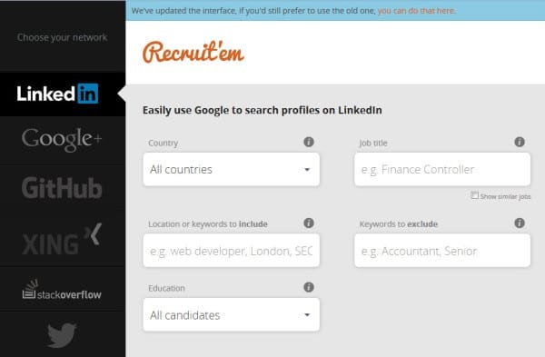 Recruit'em - easy xray searches of 5 IT programmer hangouts from one place